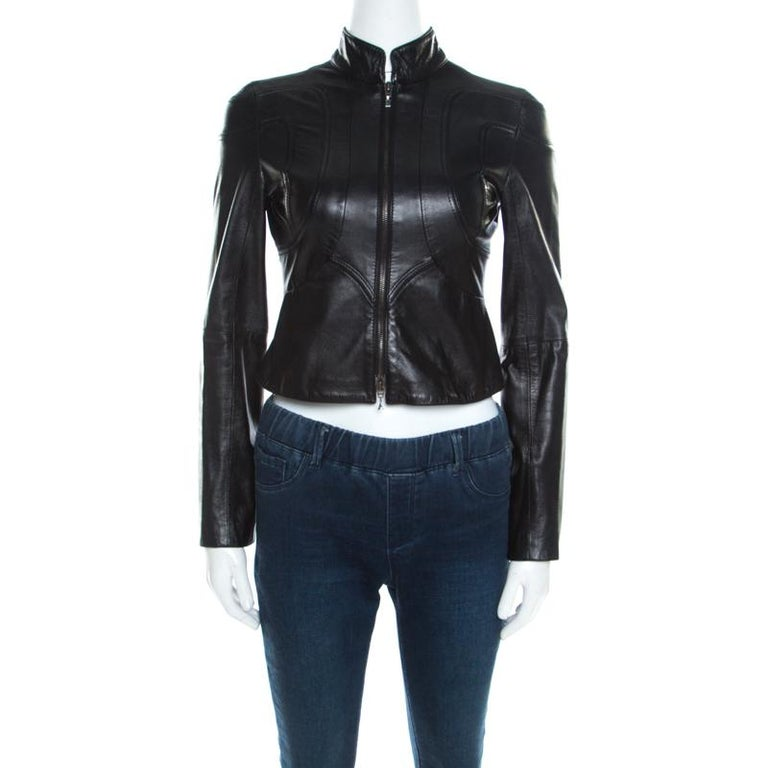 4cd126382 Emporio Armani Black Leather Paneled Cropped Moto Jacket S