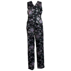Emporio Armani Black Pink Cotton Damask Floral Pants Suit