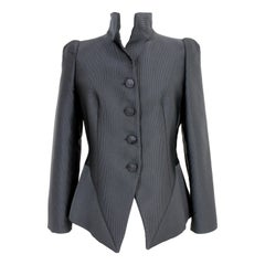 Emporio Armani Black Ribbed Blazer Structured Jacket 2000s