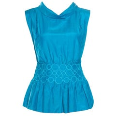 Emporio Armani Blue Embroidered Cotton and Silk Sleeveless Peplum Top S