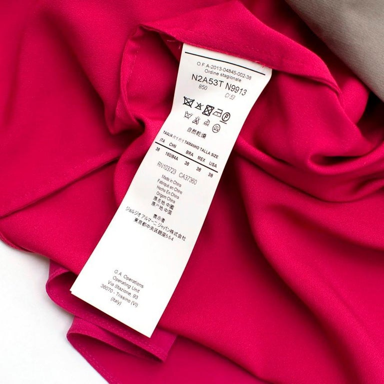 Emporio Armani Cerise Silk Dress US 0-2 In Excellent Condition For Sale In London, GB