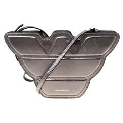 Emporio Armani Grey Metallic Leather Structured Logo Crossbody Bag