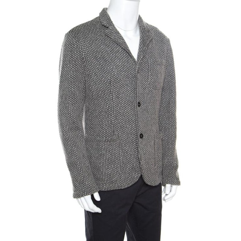 0c27025d8a Emporio Armani Grey Textured Chunky Knit Wool Blend Jacket L