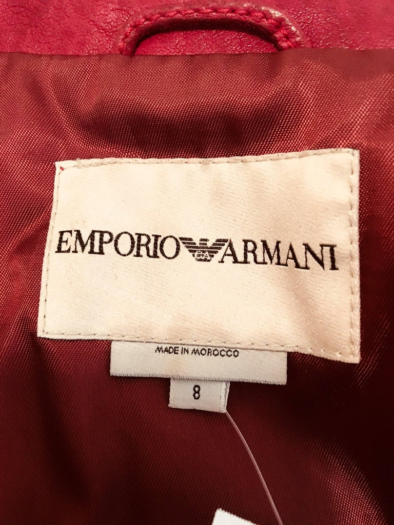 Emporio Armani Leather Jacket For Sale 8