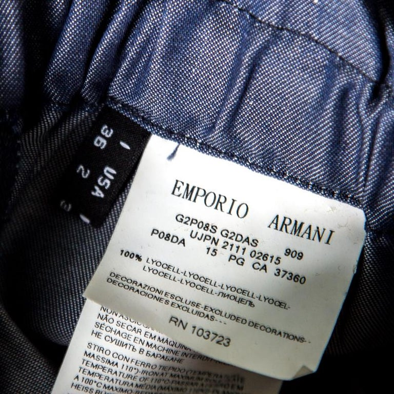 Emporio Armani Navy Blue Chambray Wide Leg Paperbag Pants S For Sale ... 7352673fa8f73