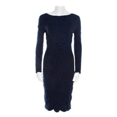 Emporio Armani Navy Blue Paisley Jacquard Patterned Scalloped Sheath Dress M