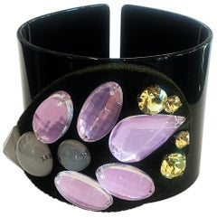 EMPORIO ARMANI Open Cuff Bracelet Velour Detail and Embellished with Rhinestones