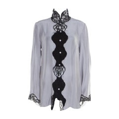 Emporio Armani Pearl Grey Silk Contrast Scalloped Lace Flared Sleeve Shirt L