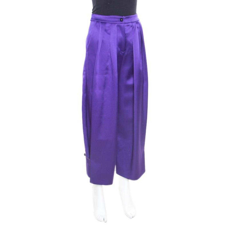 33091f459687 Emporio Armani Purple Satin Pleated Wide Leg Pants S For Sale at 1stdibs