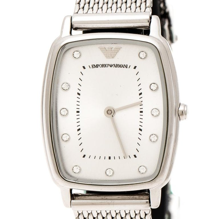 Emporio Armani Silver Stainless Steel Epsilon AR2495 Women's Wristwatch 24 mm In Good Condition For Sale In Dubai, Al Qouz 2