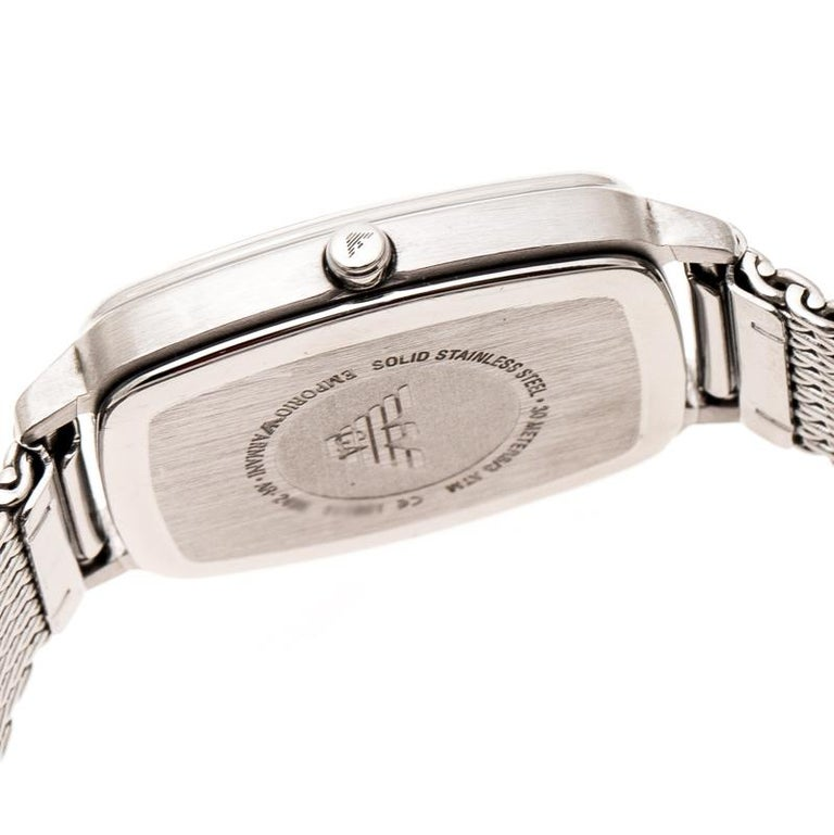 Emporio Armani Silver Stainless Steel Epsilon AR2495 Women's Wristwatch 24 mm For Sale 2