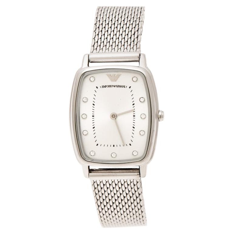 Emporio Armani Silver Stainless Steel Epsilon AR2495 Women's Wristwatch 24 mm For Sale
