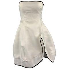 EMPORIO ARMANI Size 2 White Metallic Chiffon Strapless Cocktail Dress