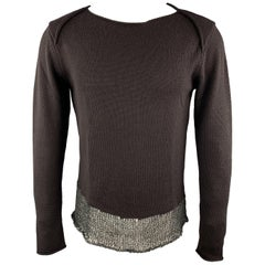 EMPORIO ARMANI Size 36 Brown Wool Boat Neck Texture Trim Pullover Sweater