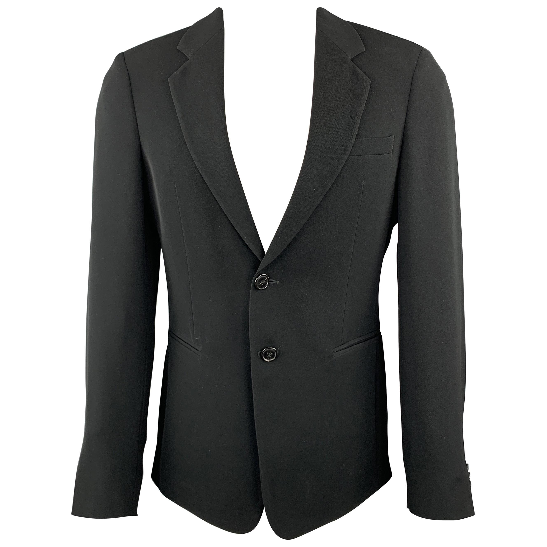 EMPORIO ARMANI Size 38 Black Polyester Notch Lapel Double Buttoned Sport Coat
