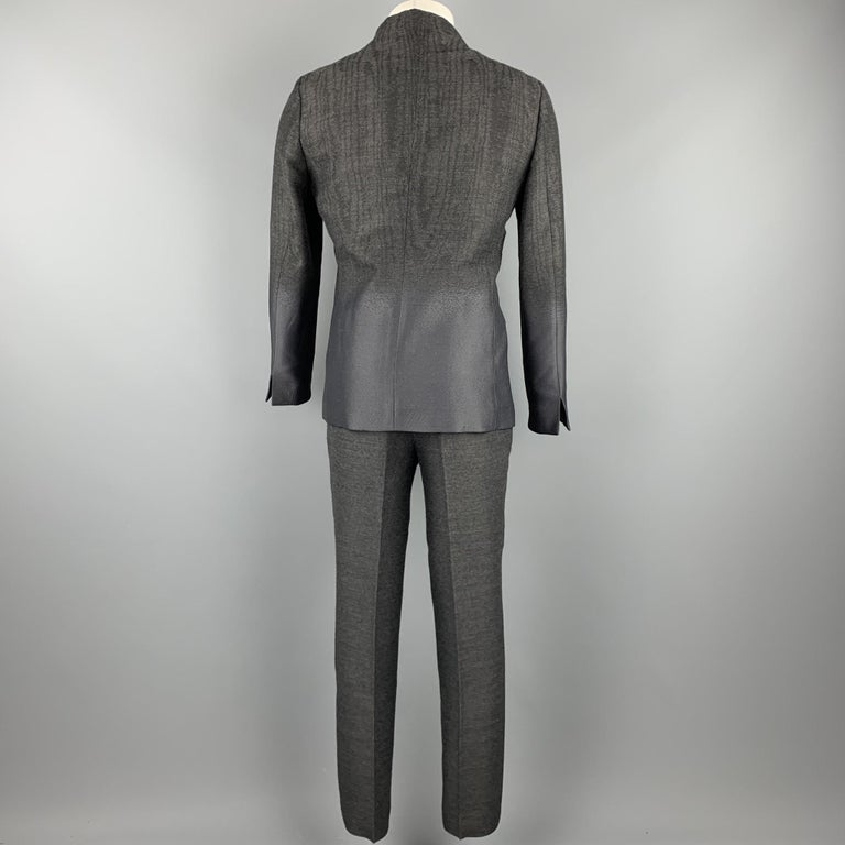 Black EMPORIO ARMANI Size 38 Charcoal Ombre Polyester Blend Asymmetrical Suit For Sale