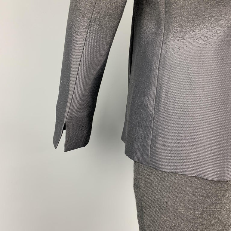 EMPORIO ARMANI Size 38 Charcoal Ombre Polyester Blend Asymmetrical Suit In Excellent Condition For Sale In San Francisco, CA