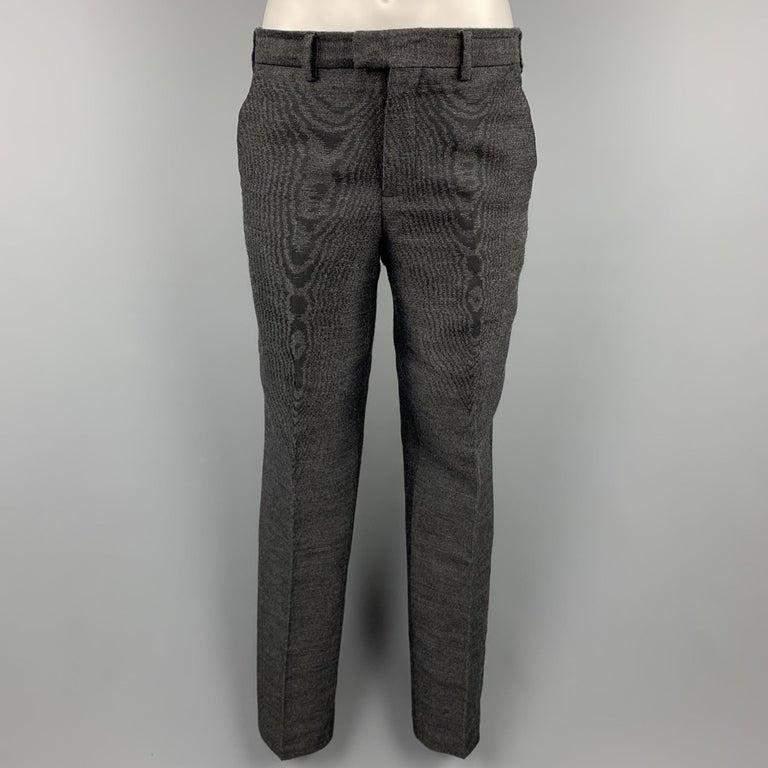 Men's EMPORIO ARMANI Size 38 Charcoal Ombre Polyester Blend Asymmetrical Suit For Sale