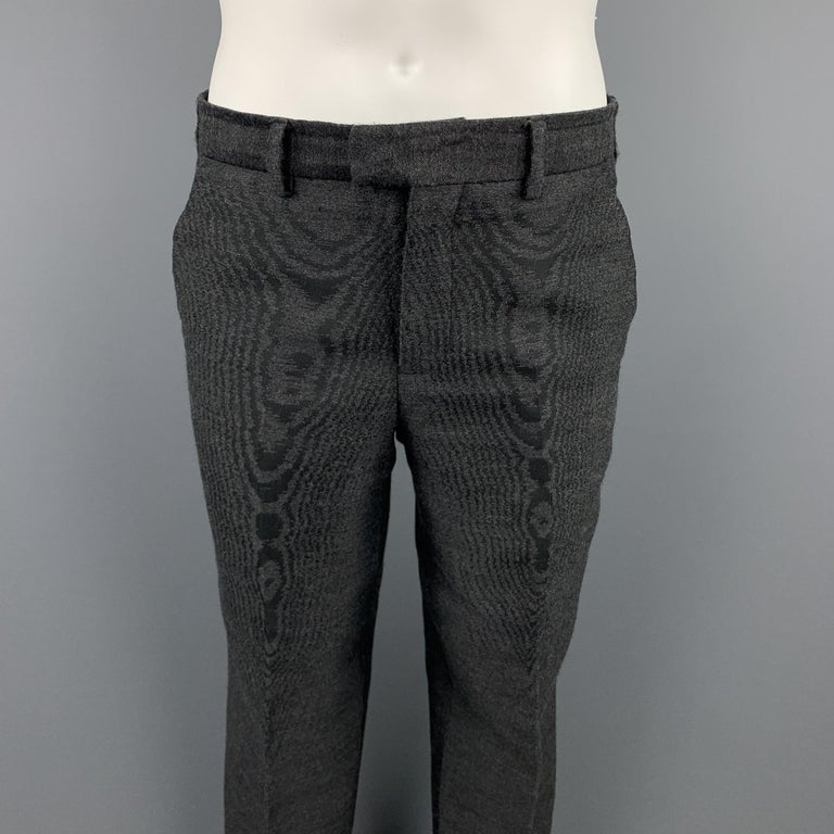 EMPORIO ARMANI Size 38 Charcoal Ombre Polyester Blend Asymmetrical Suit For Sale 1