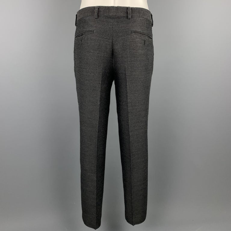 EMPORIO ARMANI Size 38 Charcoal Ombre Polyester Blend Asymmetrical Suit For Sale 2