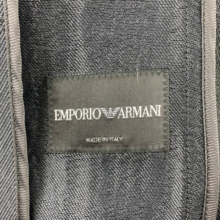 EMPORIO ARMANI Size 38 Charcoal Ombre Polyester Blend Asymmetrical Suit For Sale 4