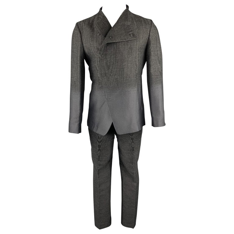 EMPORIO ARMANI Size 38 Charcoal Ombre Polyester Blend Asymmetrical Suit For Sale