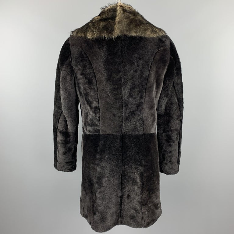 EMPORIO ARMANI Size 40 Brown Hook & Eye Closure Shearling Hook & Eye Coat In Excellent Condition For Sale In San Francisco, CA