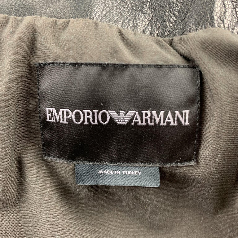 Men's EMPORIO ARMANI Size 40 Brown Hook & Eye Closure Shearling Hook & Eye Coat For Sale