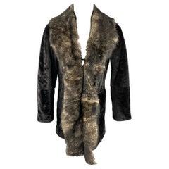 EMPORIO ARMANI Size 40 Brown Hook & Eye Closure Shearling Hook & Eye Coat