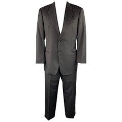 EMPORIO ARMANI Size 42 Regular Black Stripe Wool Notch Lapel Suit
