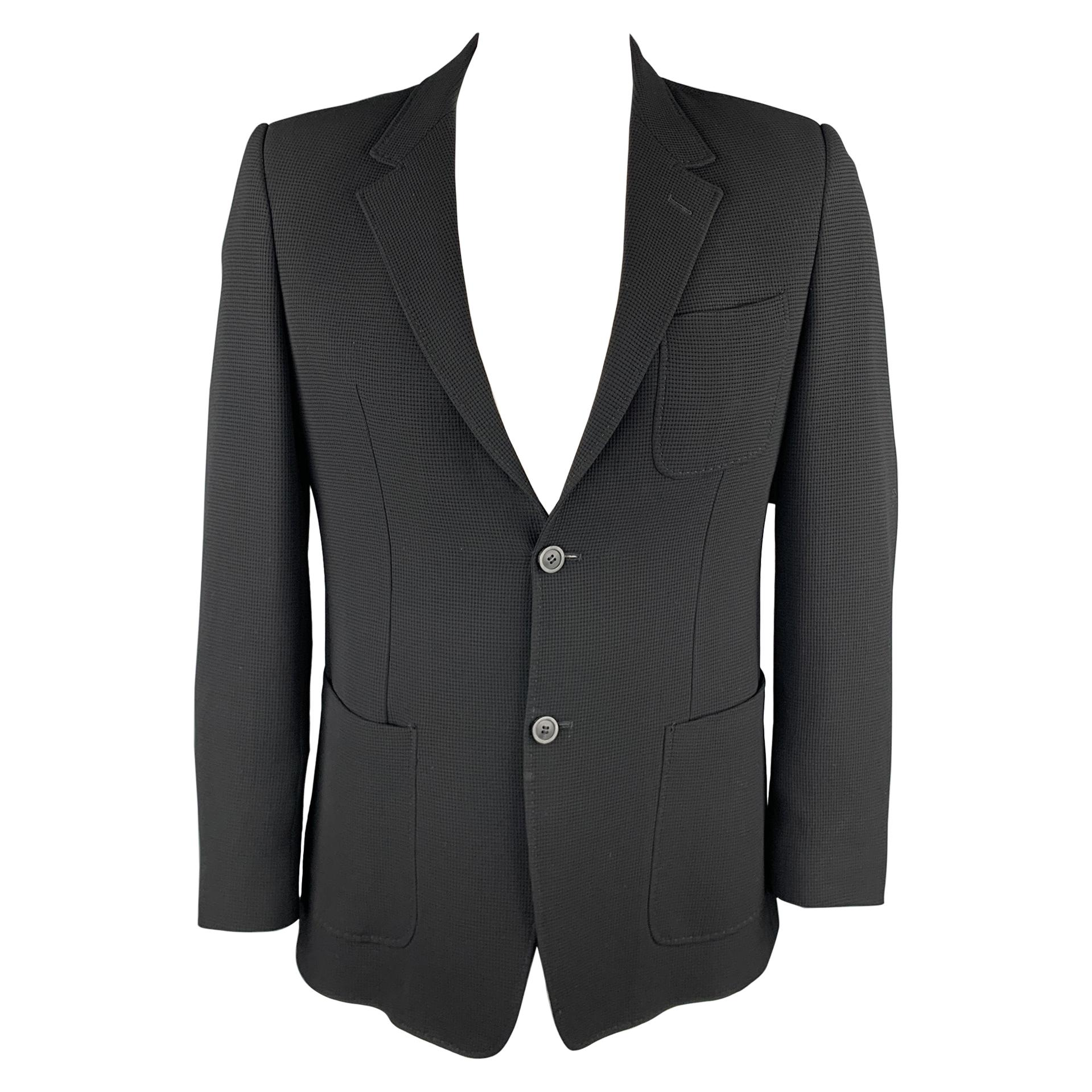 EMPORIO ARMANI Size 44 Black Textured Notch Lapel Sport Coat