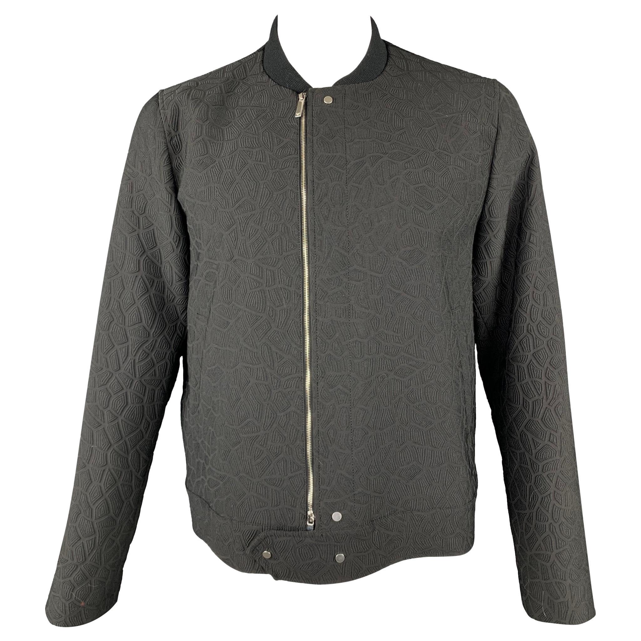 EMPORIO ARMANI Size 46 Black Textured Polyester Zip Up Jacket