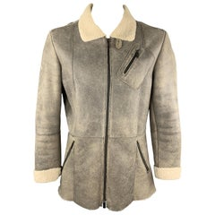 EMPORIO ARMANI Size L Taupe Leather Full Shearling Zip Coat