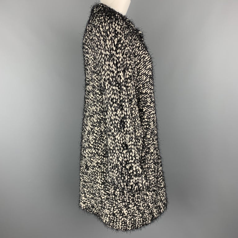 EMPORIO ARMANI Size M Black & White Tinsel Fringe Knit Snap Coat In Excellent Condition For Sale In San Francisco, CA