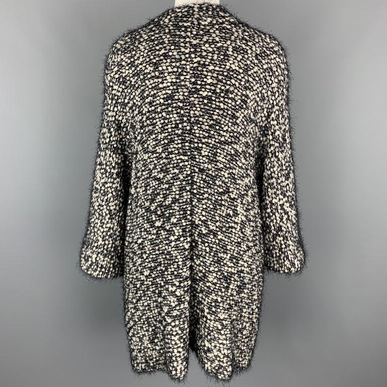 Women's EMPORIO ARMANI Size M Black & White Tinsel Fringe Knit Snap Coat For Sale
