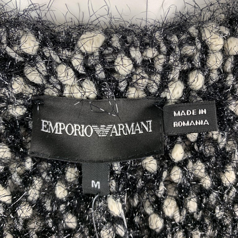 EMPORIO ARMANI Size M Black & White Tinsel Fringe Knit Snap Coat For Sale 2