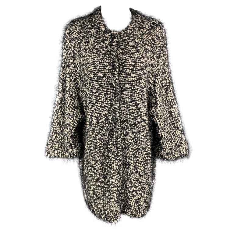 EMPORIO ARMANI Size M Black & White Tinsel Fringe Knit Snap Coat For Sale