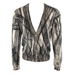 EMPORIO ARMANI Size M Print Grey & Black Wool Buttoned Collar Cardigan Sweater