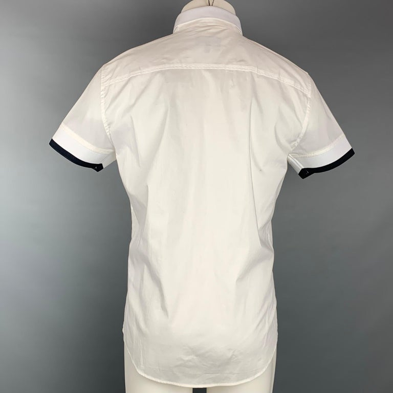 EMPORIO ARMANI Size M White Cotton Zip Up Short Sleeve Shirt In New Condition In San Francisco, CA