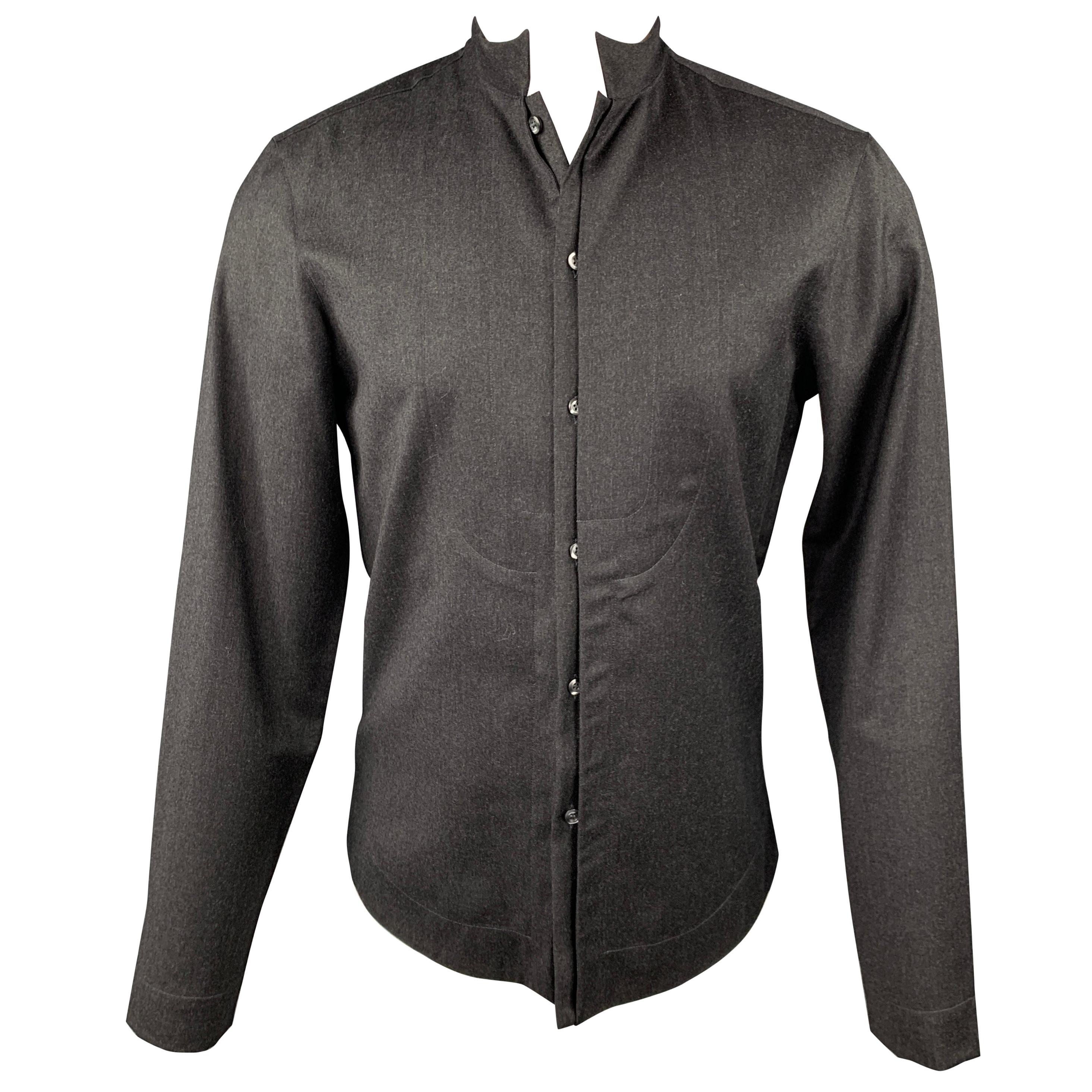EMPORIO ARMANI Size S Charcoal Wool Hidden Buttons Long Sleeve Shirt