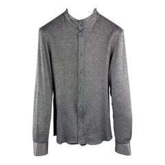 EMPORIO ARMANI Size S Grey & Navy Nailhead Cotton Wired High Collar Long Sleeve