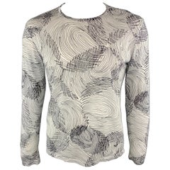EMPORIO ARMANI Size S Print White & Black Cotton / Silk Crew-Neck Sweater