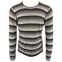 EMPORIO ARMANI Size S Striped Trim Grey & Black Crew-Neck Pullover Sweater