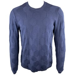 EMPORIO ARMANI Size S Textured Navy Cotton Crew-Neck Pullover Sweater