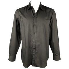 EMPORIO ARMANI Size XL Black Textured Cotton Button Up Long Sleeve Shirt