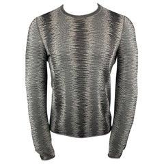 EMPORIO ARMANI Size XS Textured Gray Poliammide Crew-Neck Pullover Sweater