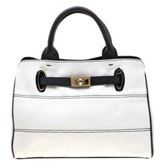 Emporio Armani White/Blue Coated Canvas and Leather Tote