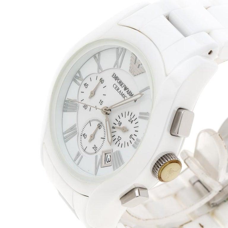 aea547cd Emporio Armani White Ceramic AR1403 Men's Wristwatch 42MM