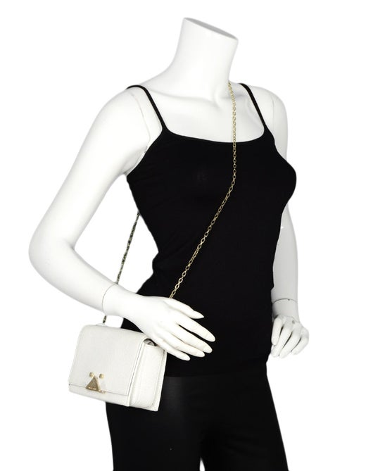 31be47f147c4 Emporio Armani White Leather Goldtone Chain Mini Crossbody Bag For Sale at  1stdibs