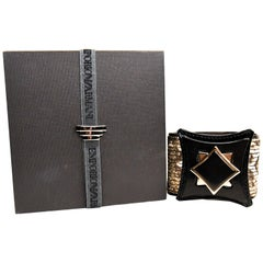 Emporio Armani Wide Fabric Cuff Square Turn Lock New in Box
